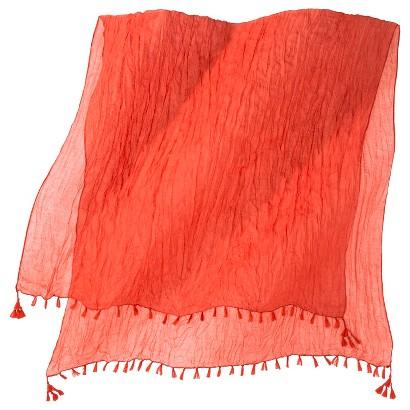 Merona® Solid Crinkle Scarf with Fringe - Orange