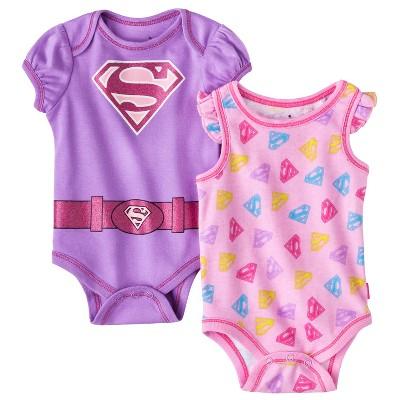 Superman® Newborn Girls' 2 Pack Supergirl Caped - Purple 3-6 M