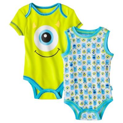 Disney® Newborn Boys' 2 Pack Monster's Inc. Bodysuit - Seamist 3-6 M