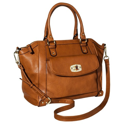 Women's Tote Faux Leather Handbag with Turnlock - Merona™