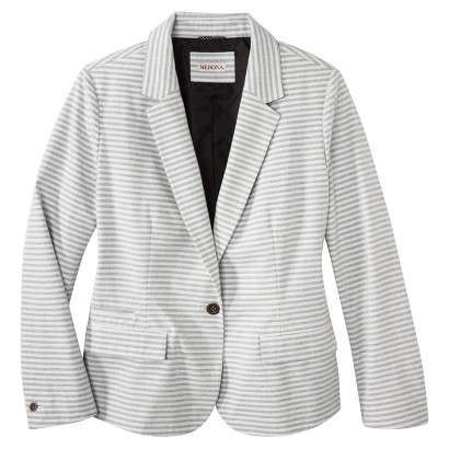 Women's Plus Size Long Sleeve Blazer Black/Cream-Merona®