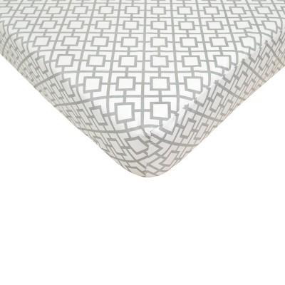 TL Care Grey Lattice Fitted Crib Sheet