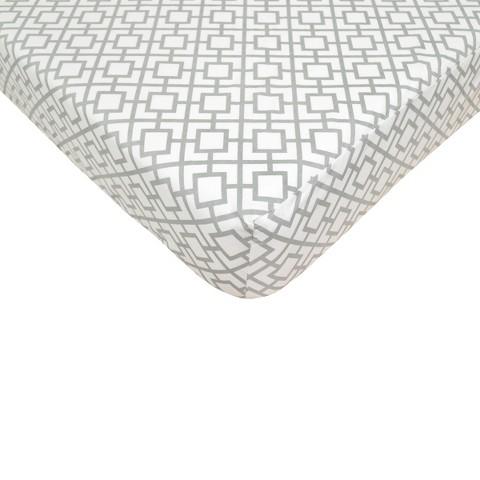 Grey Lattice Fitted Crib Sheet