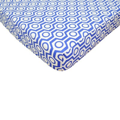 TL Care Royal Blue Hexagon Fitted Crib Sheet