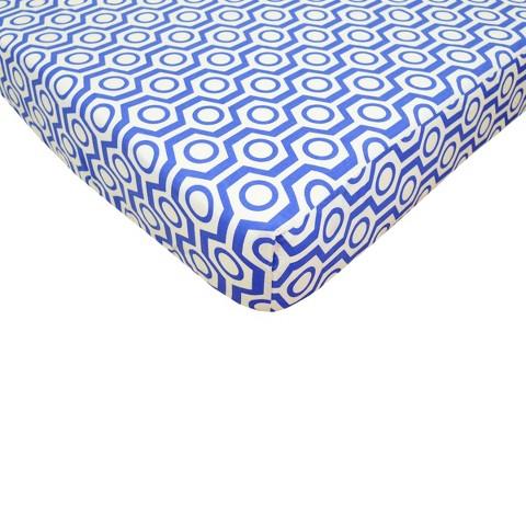 Royal Blue Hexagon Fitted Crib Sheet
