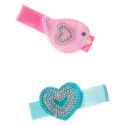 Cherokee® Infant Toddler Girls' 2 Piece Hair Clips - Bird/Heart