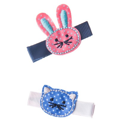 Cherokee® Infant Toddler Girls' 2 Piece Hair Clips - Cat/Bunny
