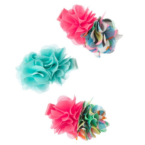 Cherokee® Infant Toddler Girls' 3 Piece Flower Hair Clips - Multi/Coral