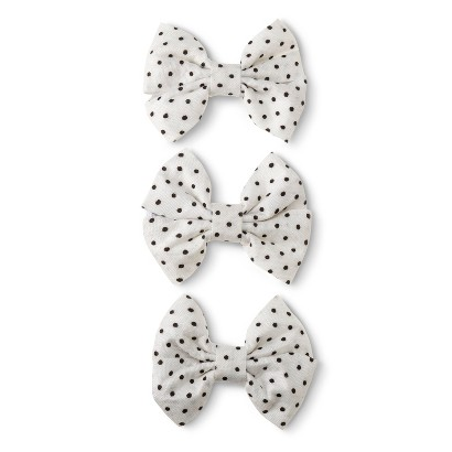 Cherokee® Infant Toddler Girls' 3 Pack Polkadot Bow Clips - White/Black