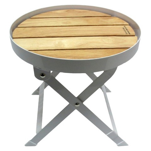 Rubberwood Beverage Stand with Steel Frame - Short