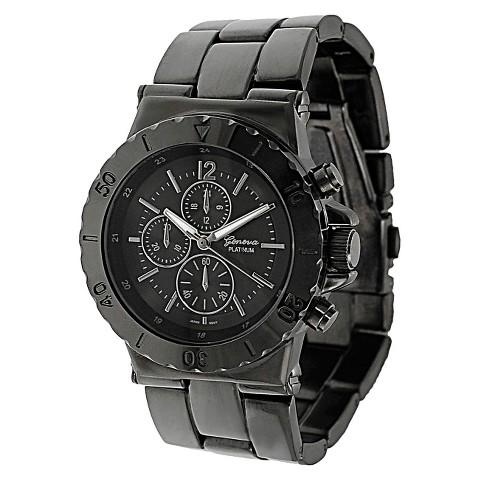 Men's Geneva Platinum Chronograph Link Watch - Gunmetal