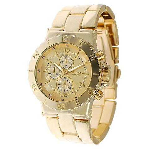 Men's Geneva Platinum Chronograph Link Watch - Gold