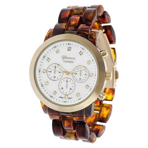 Geneva Platinum Tortoise Link Watch - Copper