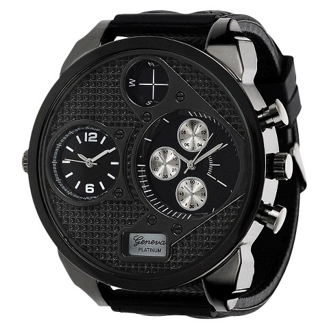 Men's Geneva Platinum Subdial Strap Watch - Black