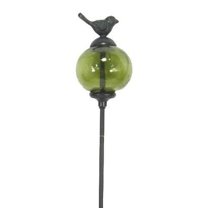 Threshold™ Glass Orb Garden Stake with Bird Detail - Green