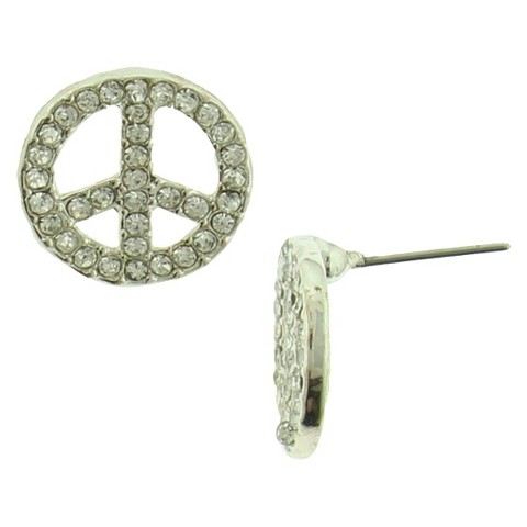 Women's Peace Sign Earrings with Glass Stones - Crystal