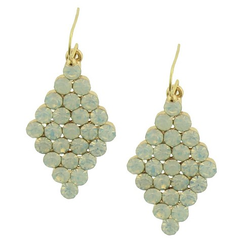 Women's Linear Earrings with Glass Stones - Crystal/Gold