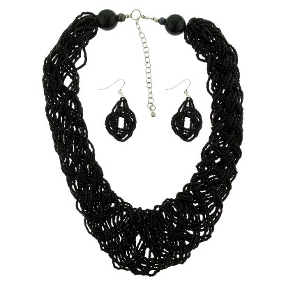 "Women's Necklace and Earring Set with Woven Seed Beads - Black (18"")"