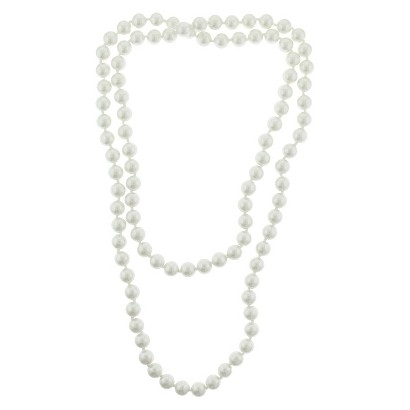"Women's Long Necklace with Simulated Pearls - Ivory (42"")"