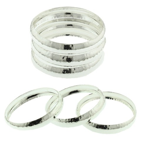 Women's Three Piece Bangle Set with Hammered Effect - Silver