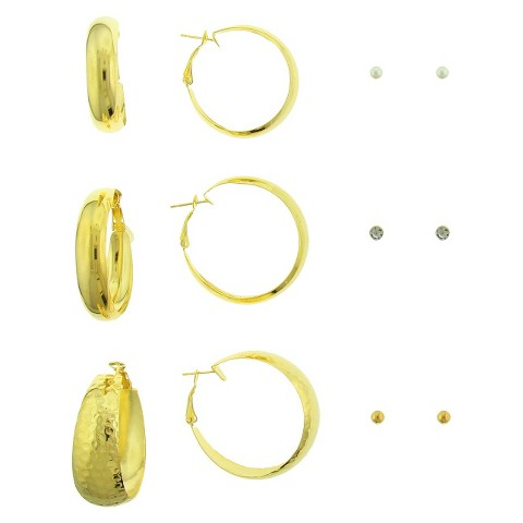 Women's Six Piece Earring Set with Clutchless Hoops and Studs - Gold