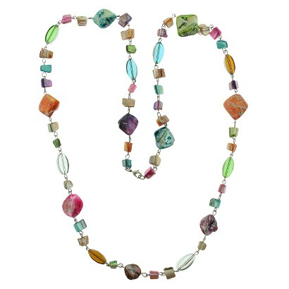 """Women's Long Necklace with Mixed Simulated Shell - Multicolor (40"""")"""
