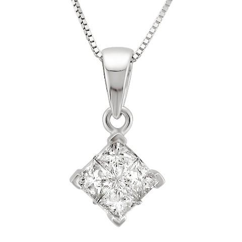 1/2 CT.T.W. Princess-cut Composite Set Diamond Pendant Necklace in 14K White Gold (IJ, I2)