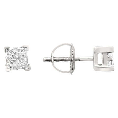 1 CT. T.W. Princess-cut Composite Set Diamond Screw Back Stud Earrings in 14K White Gold (IJ, I2)