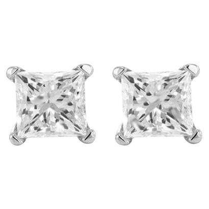 1/2 CT.T.W Princess-cut Prong Set Diamond Stud Earrings in 14K White Gold (HI- SI1-SI2) IGL Certified