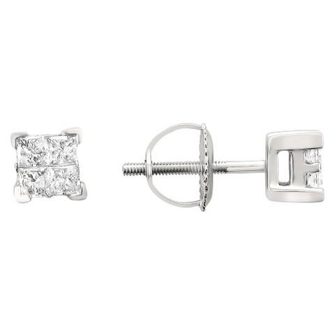 1/2 CT.T.W. Princess-Cut Composite Set Diamond Screw Back Stud Earrings in 14K White Gold (IJ, I2)