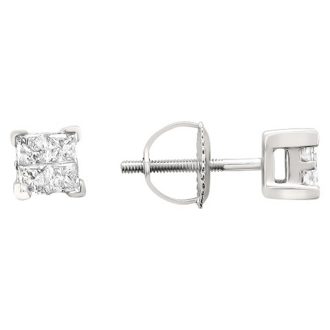 1/4 CT.T.W. Princess-cut Composite Set Diamond Screw Back Stud Earrings in 14K White Gold (IJ, I2)