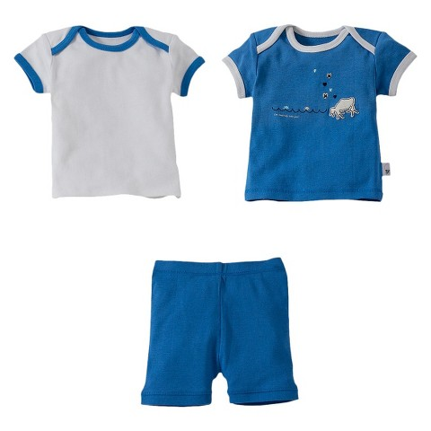 Burt's Bees Toddler Boys' 3-Piece Mix & Match Short-Sleeve Frog and Shorts Pajama Set