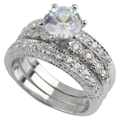 Social Gallery by Roman Engagement Ring Cubic Zirconia 3 Band Set Size 7 - Silver/Clear