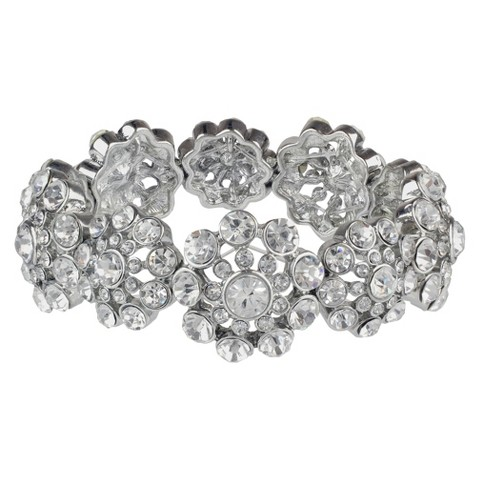 Social Gallery by Roman Stretch Bracelet and Round Crystal - Silver/Clear