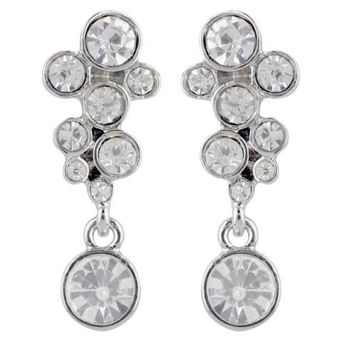 Social Gallery by Roman Post Earrings Drop Bubble Glass - Silver/Clear