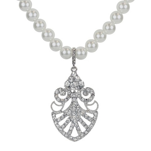 Social Gallery by Roman Necklace Simulated Pearl and Crystal Pendant - Silver/White/Clear