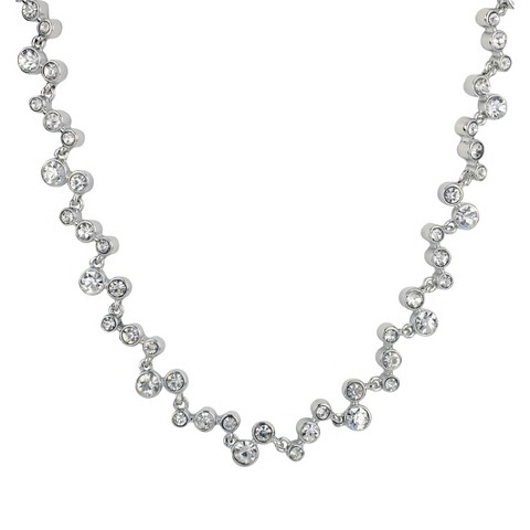 "Social Gallery by Roman Round Glass Necklace - Silver/Clear (18+3"")"