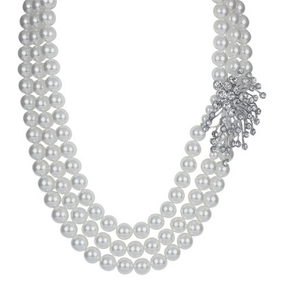 Social Gallery by Roman Necklace 3 Simulated Pearl with Crystal Starburst -Silver/White/Clear