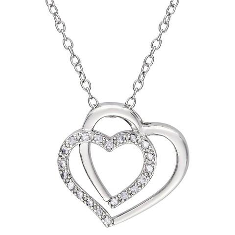 """Allura 1/10 CT. T.W. Diamond Accent Sterling Silver Heart Pendant Necklace (GH 12:13) (18"""")"""