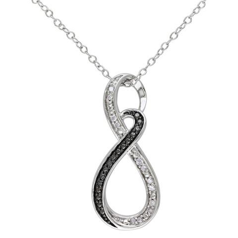 """Allura 0.006 CT. T.W. Diamond Sterling Silver Infinity Pendant Necklace - Silver/Black (18"""")"""