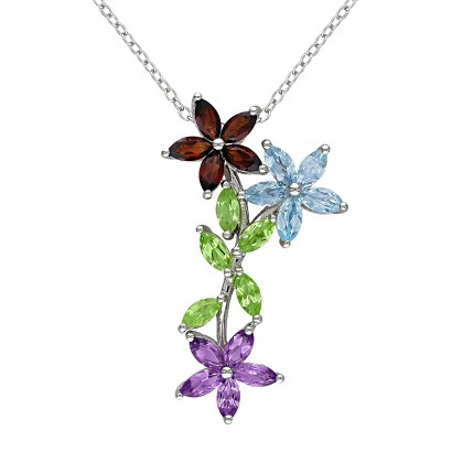 3.15 CT.T.W. Colored Multistone Marquise Flowers Sterling Silver Pendant Necklace