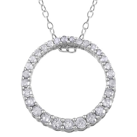 0.33 CT.T.W. Diamond Circle Pendant Sterling Silver Necklace