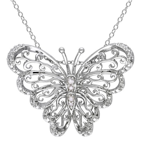 Allura  0.05 CT. T.W. Diamond Butterfly Pendant Sterling Silver Necklace