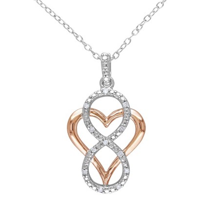 """0.06 CT.T.W. Diamond Heart and Infinity Sterling Silver Pendant Necklace - Silver/Pink(18"""")"""