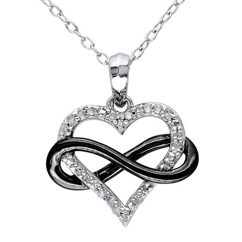 Allura  0.1 CT. T.W. Diamond Heart and Infinity Pendant Necklace in Sterling Silver