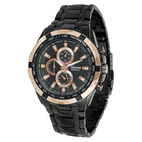 Geneva Platinum Men's Chronograph-style Link Watch - Black