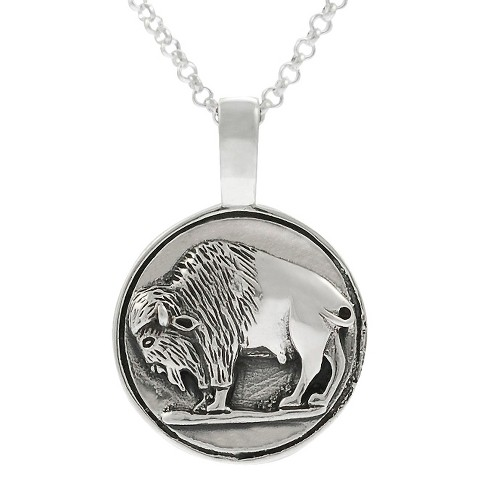 Journee Collection Sterling Silver Buffalo Necklace - Silver