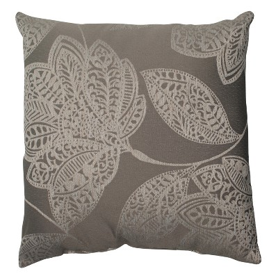 "Beatrice Floral Toss Pillow - Gray/White (16.5x16.5"")"