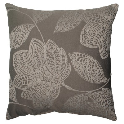 "Beatrice Floral Toss Pillow - Gray/White (18x18"")"