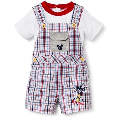 Disney® Newborn Boys' 2 Piece Plaid Mickey Mouse Set - White/Blue/Red